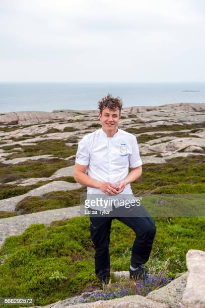Thomas Sjögren the 2015 Chef of the Year in Sweden and owner chef of Skäret Krog in Smögen foraging for food on Smögen's coastline West Sweden