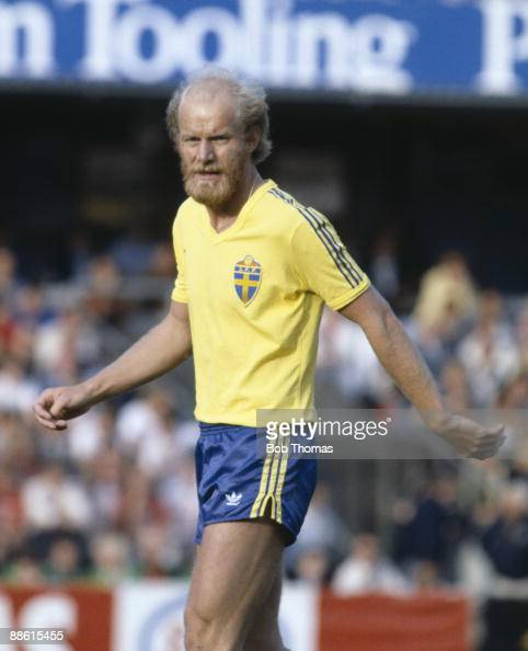 Thomas Sjoberg Sweden during the World Cup Qualifying match against Northern Ireland in Stockholm 3rd June 1981 Sweden won 10