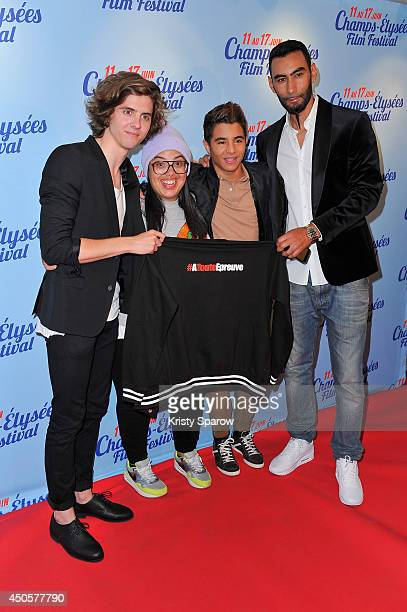 Thomas Soliveres Melha Bedia Samy Seghir and La Fouine attend A Toute Epreuve Paris Premiere during Day 3 of the Champs Elysees Film Festival on June...