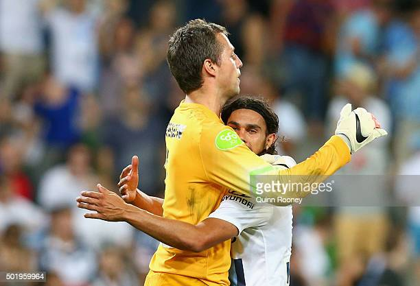 Thomas Sorensen and David Williams of the City celebrate winning the round 11 ALeague match between Melbourne City FC and Melbourne Victory at AAMI...
