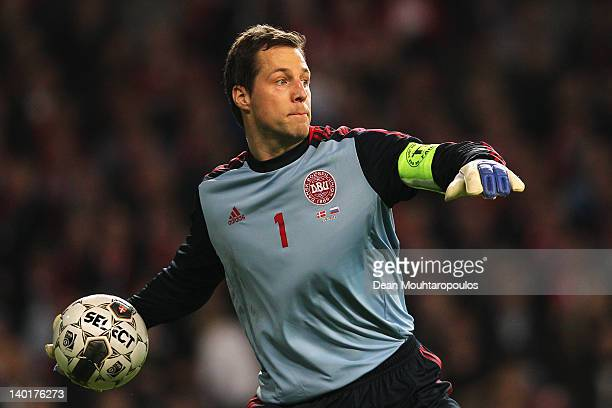 Thomas Sorensen of Denmark in action during the International Friendly between Denmark and Russia at Parken Stadium on February 29 2012 in Copenhagen...