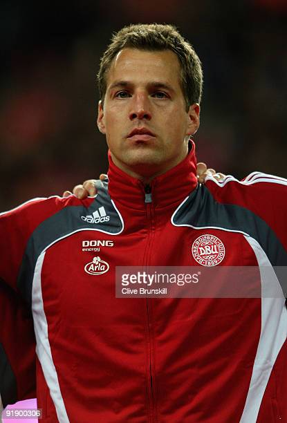 Thomas Sorensen of Denmark stands for the national anthem during the FIFA 2010 group one World Cup Qualifying match between Denmark and Hungary at...