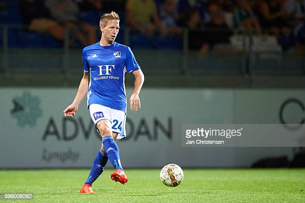 Thomas Sorensen of Lyngby BK controls the ball during the Danish Alka Superliga match between Lyngby BK and FC Nordsjalland at Lyngby Stadion on...
