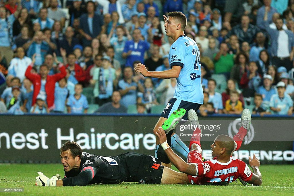 Thomas Sorensen of Melbourne City defends his goal during the round one A-League match between Sydney FC and Melbourne City FC at Allianz Stadium on October 10, 2015 in Sydney, Australia.
