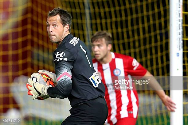 Thomas Sorensen of Melbourne City in goal during the round nine ALeague match between the Central Coast Mariners and Melbourne City FC at Central...