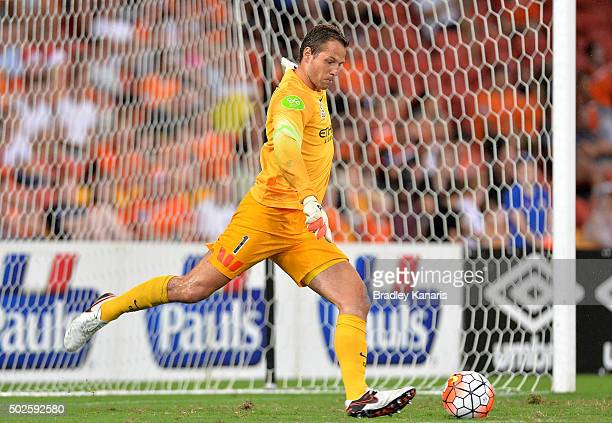 Thomas Sorensen of Melbourne City kicks the ball during the round 12 ALeague match between the Brisbane Roar and Melbourne City FC at Suncorp Stadium...