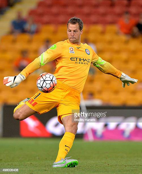 Thomas Sorensen of Melbourne City kicks the ball during the round seven ALeague match between the Brisbane Roar and Melbourne City FC at Suncorp...
