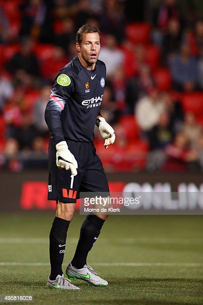 Thomas Sorensen of Melbourne City looks on during the round five ALeague match between Adelaide United and Melbourne City FC at Coopers Stadium on...
