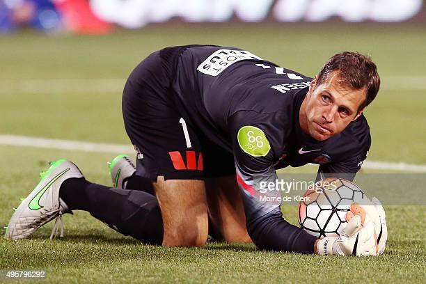 Thomas Sorensen of Melbourne City makes a save during the round five ALeague match between Adelaide United and Melbourne City FC at Coopers Stadium...