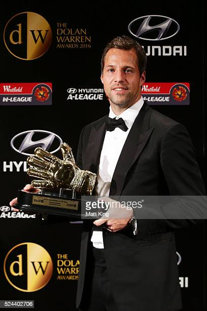 Thomas Sorensen of Melbourne City poses with the Hyundai ALeague Goalkeeper of the Year Award during the 2016 FFA Dolan Warren Awards at...