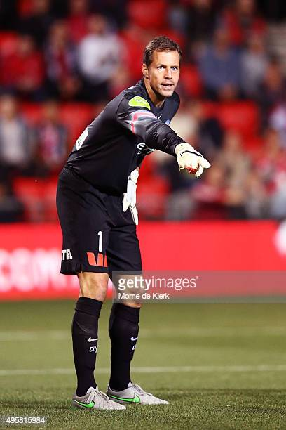 Thomas Sorensen of Melbourne City reacts during the round five ALeague match between Adelaide United and Melbourne City FC at Coopers Stadium on...