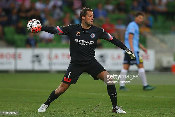 Thomas Sorensen of Melbourne City throws to a teammate during the round 22 ALeague match between Melbourne City FC and Sydney FC at AAMI Park on...