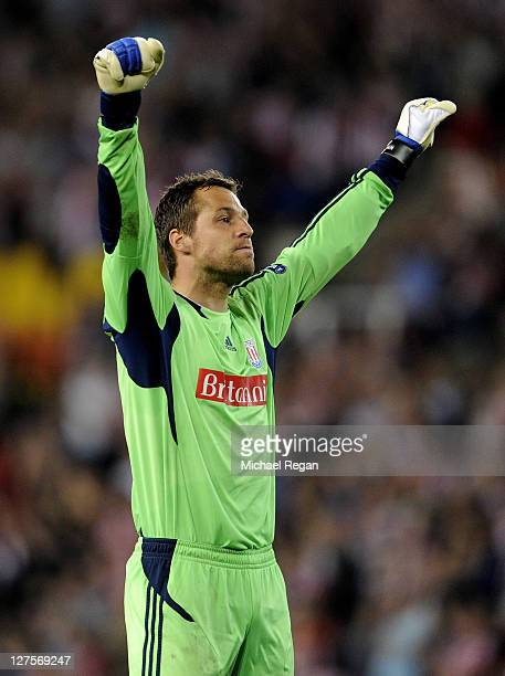 Thomas Sorensen of Stoke City celebrates at the end of the UEFA Europa League Group E match between Stoke City and Besiktas JK at the Britannia...