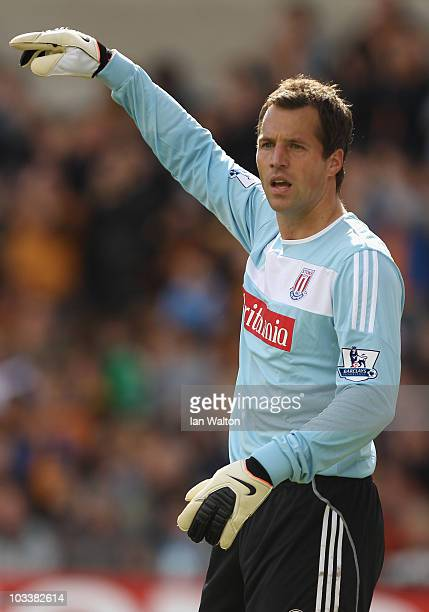 Thomas Sorensen of Stoke City during the Barclays Premier League match between Wolverhampton Wanderers and Stoke City at Molineux on August 14 2010...