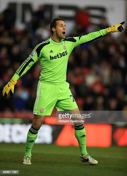 Thomas Sorensen of Stoke City in action during the Barclays Premier League match between Stoke City and Everton at Britannia Stadium on January 1...