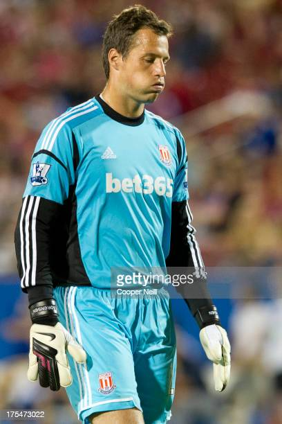 Thomas Sorensen of Stoke City looks on against FC Dallas on July 27 2013 at FC Dallas Stadium in Frisco Texas