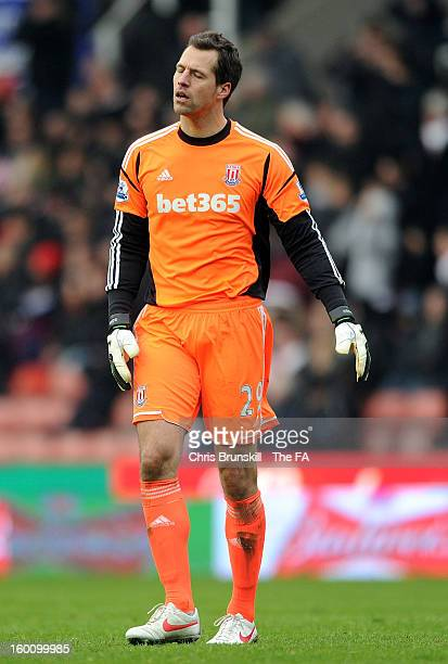 Thomas Sorensen of Stoke City reacts during the FA Cup with Budweiser Fourth Round match between Stoke City and Manchester City at Britannia Stadium...