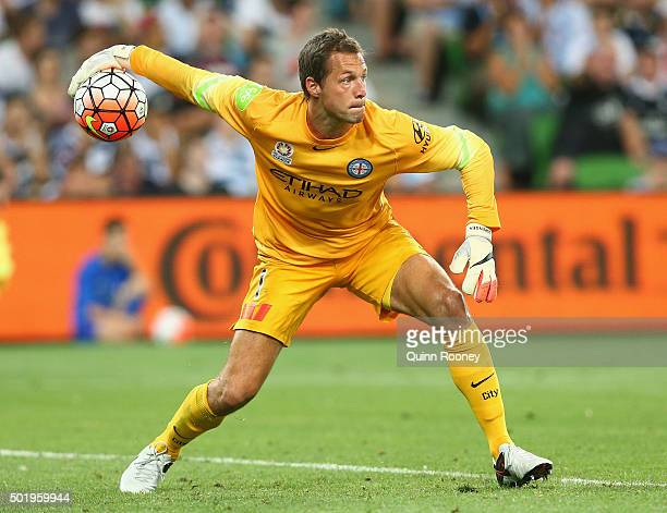 Thomas Sorensen of the City throws the ball during the round 11 ALeague match between Melbourne City FC and Melbourne Victory at AAMI Park on...