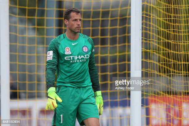 Thomas Sorenson of Melbourne City in goal during the round 22 ALeague match between the Central Coast Mariners and Melbourne City FC at Central Coast...