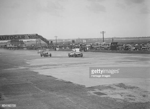 Thomas Special of Harold Purdy and OM of Henken Widengren BRDC 500 Mile Race Brooklands 1931 Artist Bill BrunellThomas Special 1493 cc No 29 Driver...