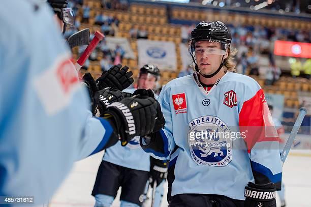 Thomas Spelling of Sonderjyske during the Champions Hockey League group stage game between HV71 Jonkoping and SonderjyskE Vojens on August 29 2015 in...