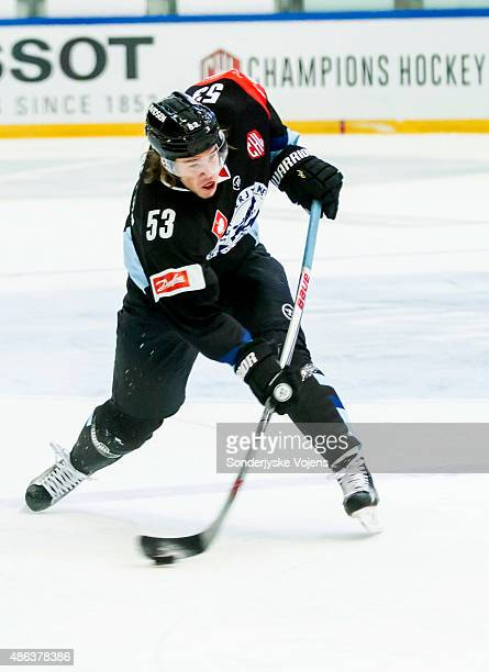 Thomas Spelling of Vojens shoots during the Champions Hockey League group stage game between SonderjyskE Vojens and HV71 Jonkoping on September 3...