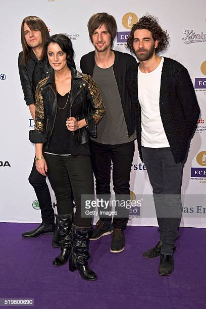 Thomas Stolle Stefanie Kloss Johannes Stolle and Andreas Nowak members of the band Silbermond attend the Echo Award 2016 on April 07 2016 in Berlin...