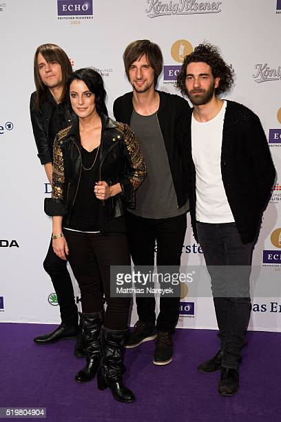 Thomas Stolle Stefanie Kloss Johannes Stolle and Andreas Nowak of the band 'Silbermond' attend the Echo Award 2016 on April 7 2016 in Berlin Germany