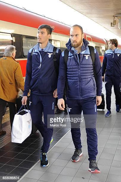 Thomas Strakoscha and Ivan Vargic of SS Lazio depart for Milan on January 30 2017 in Rome Italy