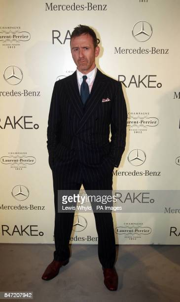 Thomas Stubbs arrives for the Mercedes Benz Rake fashion show at Claridges London