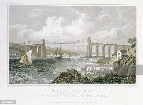 Thomas Telford's suspension bridge over Menai Straits Wales built 18201826 View from Angelsea side Original timber deck wrecked in storm 1839 In 1940...