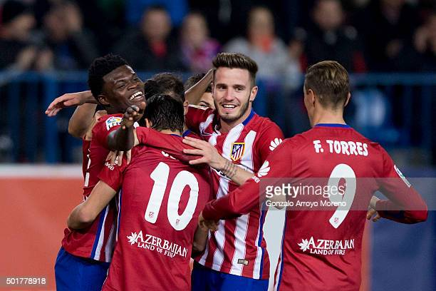 Thomas Teye Partey of Atletico de Madrid celebrates scoring their opening goal with teammates during the Copa del Rey Round of 32 match between Club...
