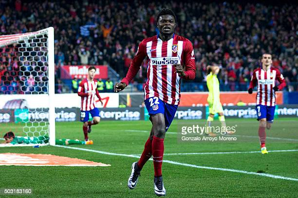 Thomas Teye Partey of Atletico de Madrid celebrates scoring their opening goal during the La Liga match between Club Atletico de Madrid and Levante...