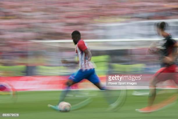 Thomas Teye Partey of Atletico de Madrid in action during the La Liga match between Atletico de Madrid and Athletic de Bilbao at the Estadio Vicente...