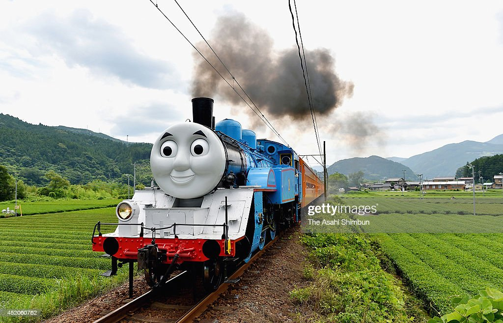 Thomas The Tank Engine runs on July12, 2014 in Shimada, Shizuoka, Japan. The train led by Thomas will operate a total of 52 roundtrips, including two chartered ones, between Shin-Kanaya and Senzu stations on the Oigawa Line until October 12.
