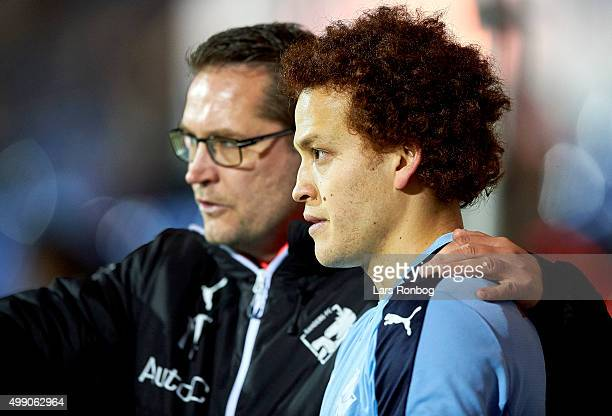 Thomas Thomasberg assistant coach of Randers FC and Mustafa Amini of Randers FC during the Danish Alka Superliga match between Randers FC and FC...