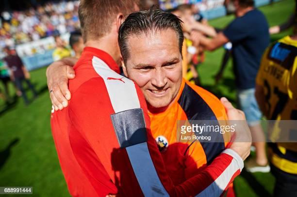 Thomas Thomasberg head coach of Hobro IK celebrates winning the match and the NordicBet LIGA with promotion to the Alka Superliga after the Danish...