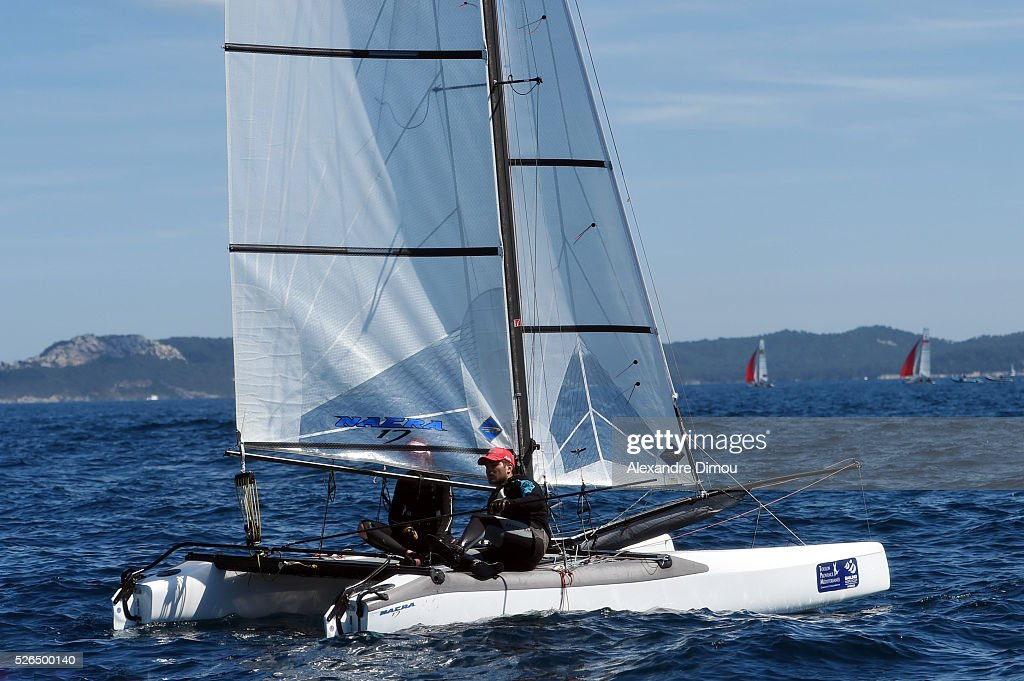 Thomas Tiffon Terrade and Marie Tiffon Terrade of France compete in the Nacra 17 race boat during the Sailing World Cup on April 30, 2016 in Hyeres, France.