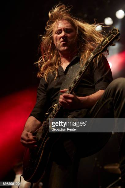 Thomas Tofthagen of Audrey Horne performs as support to Danko Jones at Huxleys Neue Welt on March 22 2017 in Berlin Germany