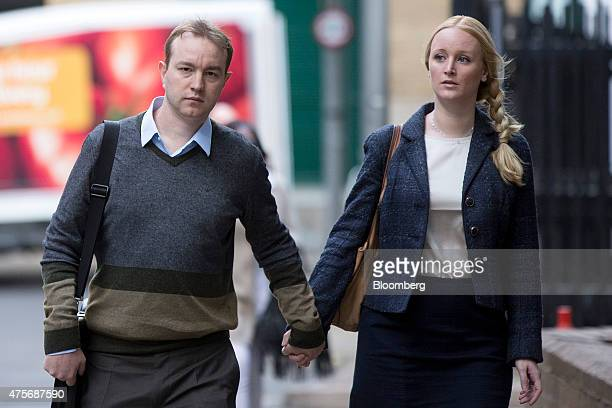 Thomas 'Tom' Hayes a former trader at banks including UBS Group AG and Citigroup Inc left and his wife Sarah arrive for his trial at Southwark Crown...