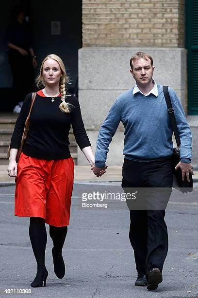 Thomas 'Tom' Hayes a former trader at banks including UBS Group AG and Citigroup Inc right and his wife Sarah arrive for his trial at Southwark Crown...