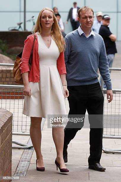 Thomas 'Tom' Hayes a former trader at banks including UBS Group AG and Citigroup Inc right and his wife Sarah leave for lunch during for his trial at...