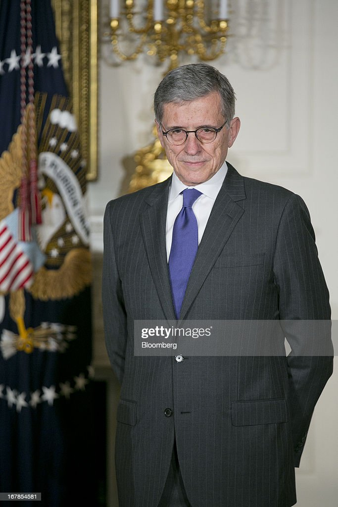 Thomas 'Tom' Wheeler, managing director of Core Capital Partners LP and U.S. President Barack Obama's nominee as chairman of the Federal Communications Commission (FCC), listens as Obama, not pictured, makes the announcement in the State Dining Room of the White House in Washington, D.C., U.S. on Wednesday, May 1, 2013. Wheeler would succeed Chairman Julius Genachowski, a Democrat who has pushed to expand access to high-speed Internet service. Photographer: Andrew Harrer/Bloomberg via Getty Images