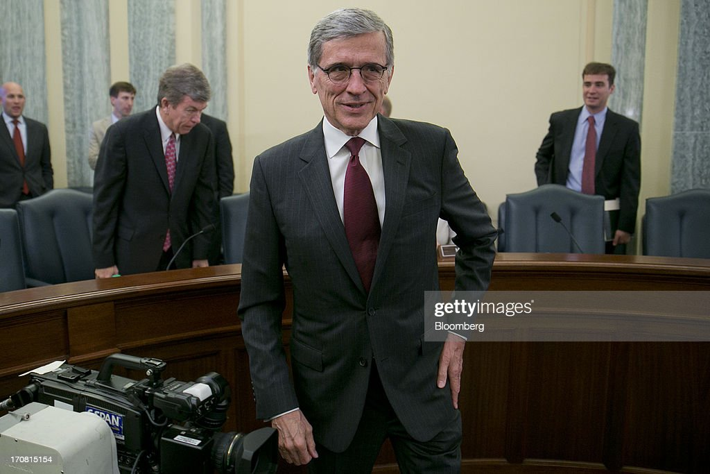 Thomas 'Tom' Wheeler, president and chief executive officer of Shiloh Group LLC and U.S. President Barack Obama's nominee as chairman of the Federal Communications Commission (FCC), arrives to a Senate Commerce, Science, and Transportation nomination hearing in Washington, D.C., U.S., on Tuesday, June 18, 2013. On May 1 President Obama named Wheeler, a venture capitalist and former communications industry lobbyist, to succeed Julius Genachowski as chairman of the FCC. Photographer: Andrew Harrer/Bloomberg via Getty Images