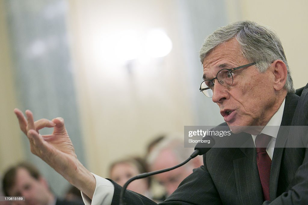 Thomas 'Tom' Wheeler, president and chief executive officer of Shiloh Group LLC and U.S. President Barack Obama's nominee as chairman of the Federal Communications Commission (FCC), speaks during a Senate Commerce, Science, and Transportation nomination hearing in Washington, D.C., U.S., on Tuesday, June 18, 2013. On May 1 President Obama named Wheeler, a venture capitalist and former communications industry lobbyist, to succeed Julius Genachowski as chairman of the FCC. Photographer: Andrew Harrer/Bloomberg via Getty Images