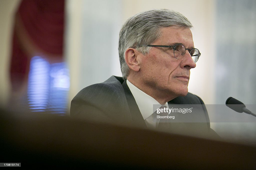 Thomas 'Tom' Wheeler, president and chief executive officer of Shiloh Group LLC and U.S. President Barack Obama's nominee as chairman of the Federal Communications Commission (FCC), listens during a Senate Commerce, Science, and Transportation nomination hearing in Washington, D.C., U.S., on Tuesday, June 18, 2013. On May 1 President Obama named Wheeler, a venture capitalist and former communications industry lobbyist, to succeed Julius Genachowski as chairman of the FCC. Photographer: Andrew Harrer/Bloomberg via Getty Images