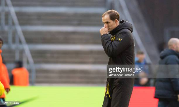 Thomas Tuchel head coach of Borussia Dortmund after the final whistle during the Bundesliga match between Hertha BSC and Borussia Dortmund at the...