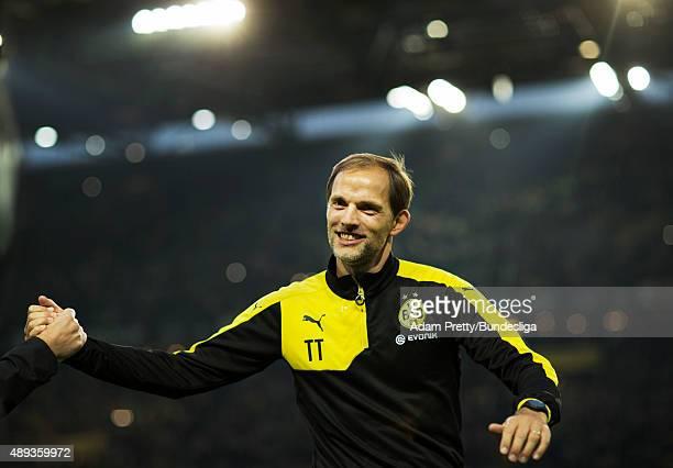 Thomas Tuchel Head Coach of Borussia Dortmund celebrates after victory in the Bundesliga match between Borussia Dortmund and Bayer Leverkusen at...