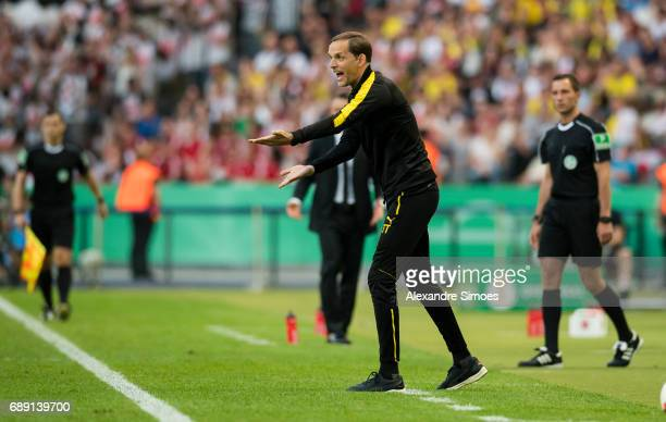 Thomas Tuchel head coach of Borussia Dortmund in action the DFB Cup Final match between Eintracht Frankfurt and Borussia Dortmund at the...