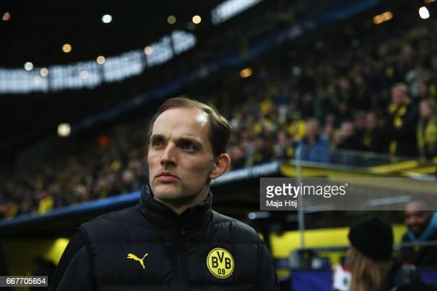 Thomas Tuchel head coach of Borussia Dortmund looks on ahead of the UEFA Champions League Quarter Final first leg match between Borussia Dortmund and...